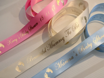 Personalised Baby Shower Ribbon - 25mm wide